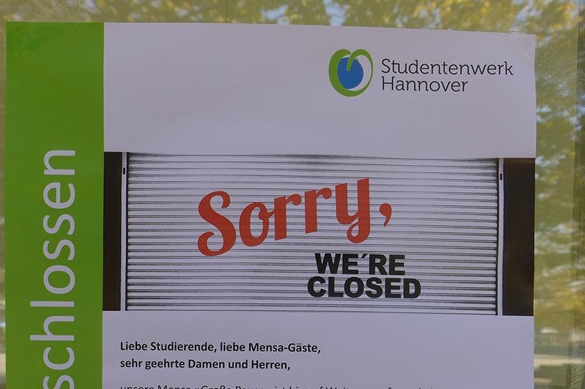 Sorry, Mensa geschlossen