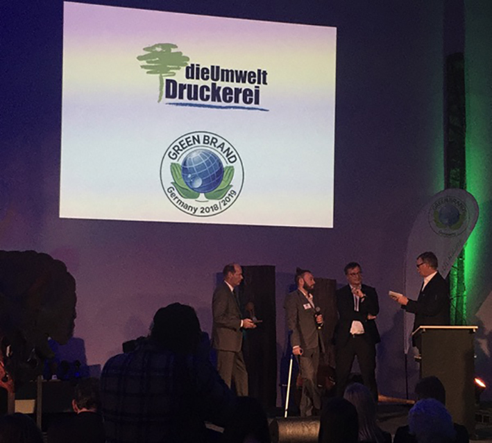 DieUmweltDruckerei mit Green-Brand-Siegel ausgezeichnet
