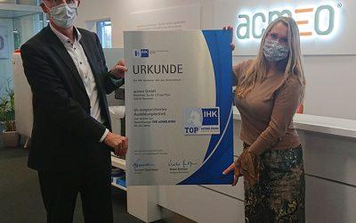 Top Ausbildung: acmeo erhält IHK-Gütesiegel